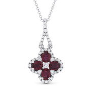 1.02ct Oval Cut Ruby & Round Cut Diamond Flower Pendant & Chain Necklace in 14k White Gold - AM-DN4615