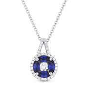 0.98ct Sapphire & Diamond Circle Pendant in 18k White Gold & 14k Chain Necklace - AM-DN4483