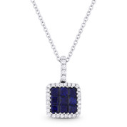 0.65ct Princess Cut Sapphire & Round Diamond Pave Pendant & Chain Necklace in 14k White Gold - AM-DN3965
