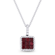 0.64ct Princess Cut Ruby & Round Diamond Pave Pendant & Chain Necklace in 14k White Gold - AM-DN3967