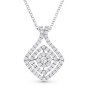 0.58ct Round Cut Diamond Pave Pendant in 18k White Gold & 14k Rolo Chain Necklace - AM-DN5840