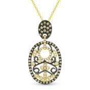 0.41ct Brown & White Diamond Pave Pendant & Chain Necklace in 14k Yellow & Black Gold - AM-DN4373