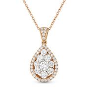 1.12 ct Round Brilliant Cut Diamond Pave Tear-Drop Pendant in 18k Rose Gold w/ 14k Chain - AM-DN5502