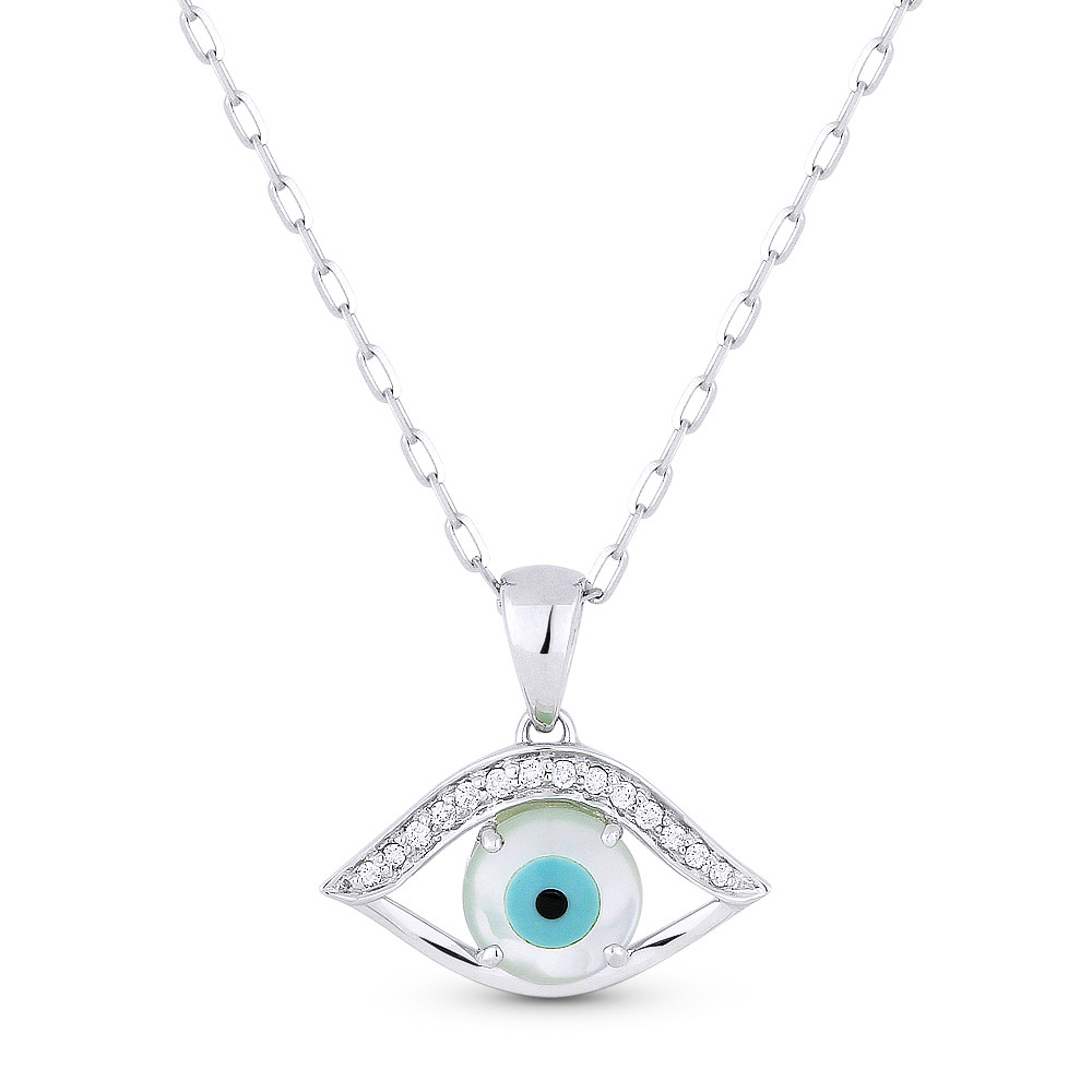 Evil Eye Mother-of-Pearl Luck Charm 925 Sterling Silver Necklace Pendant 17x16mm