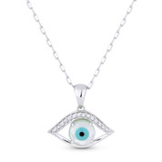 0.06ct Diamond & Mother-of-Pearl Evil Eye Charm Pendant & Chain Necklace in 14k White Gold - AM-DN4660