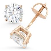 Round Brilliant Cut Charles & Colvard Forever Classic® (J-K) 4-Prong Basket Screwback Stud Earrings in 14k Rose Gold - ES001-MS-SB-14R
