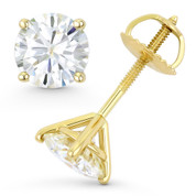 Round Brilliant Cut Charles & Colvard Forever Classic® (J-K) 4-Prong Martini Pushback Stud Earrings in 14k Yellow Gold - ES001-4M-MS-SB-14Y
