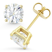 Round Brilliant Cut Charles & Colvard Forever Brilliant® (G-H-I) 4-Prong Basket Pushback Stud Earrings in 14k Yellow Gold - ES001-FB-PB-14Y