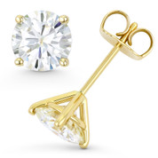 Round Brilliant Cut Charles & Colvard Forever Brilliant® (G-H-I) 4-Prong Martini Pushback Stud Earrings in 14k Yellow Gold - ES001-4M-FB-PB-14Y