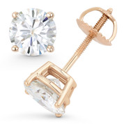 Round Brilliant Cut Charles & Colvard Forever Brilliant® (G-H-I) 4-Prong Basket Screwback Stud Earrings in 14k Rose Gold - ES001-FB-SB-14R