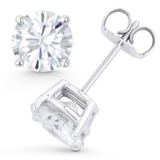 Round Brilliant Cut Charles & Colvard Forever ONE® (D-E-F) 4-Prong Basket Pushback Stud Earrings in 14k White Gold - ES001-FO-PB-14W