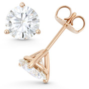 Round Brilliant Cut Charles & Colvard Forever ONE® (D-E-F) 3-Prong Martini Pushback Stud Earrings in 14k Rose Gold - ES001M-FO-PB-14R