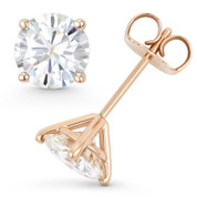 Round Brilliant Cut Charles & Colvard Forever ONE® (D-E-F) 4-Prong Martini Pushback Stud Earrings in 14k Rose Gold - ES001-4M-FO-PB-14R