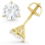 Round Brilliant Cut Charles & Colvard Forever ONE® (D-E-F) 3-Prong Martini Screwback Stud Earrings in 14k Yellow Gold - ES001M-FO-SB-14Y