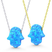 Lab-Created Opal 13x11mm Hamsa Hand Luck Charm Pendant & Chain Necklace in .925 Sterling Silver - EYESN93-OpBlue1CZ-SL