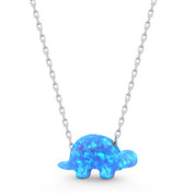 Lab-Created Opal Tortoise / Turtle Animal Charm Pendant & Chain Necklace in .925 Sterling Silver - SGN-FN046-OpBlue1CZ-SL