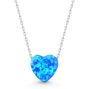 Lab-Created Opal Heart Charm Pendant & Chain Necklace in .925 Sterling Silver - SGN-FN049-OpBlue1CZ-SL