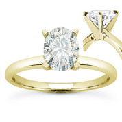 Oval Brilliant Cut Charles & Colvard Moissanite 4-Prong Solitaire Engagement Ring in 14k Yellow Gold - US-SR8136-MS-14Y