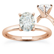 Oval Cut Forever ONE® D-E-F Moissanite Classic 4-Prong Solitaire Engagement Ring in 14k Rose Gold - US-SR8136-FO-14R