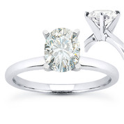 Oval Cut Forever ONE® D-E-F Moissanite Classic 4-Prong Solitaire Engagement Ring in 14k White Gold - US-SR8136-FO-14W