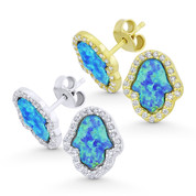 Hamsa Hand Lab-Created Opal & CZ Crystal Evil Eye Luck Charm Stud Earrings in .925 Sterling Silver - EYESER-035-OpCZBlue1
