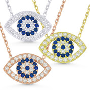 Evil Eye Charm Pendant w/ CZ Crystals & Chain Necklace in .925 Sterling Silver - EYESN8