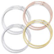 """40x1.5mm (1.6""""x0.06"""") Diamond-Cut Pave Tube Hoop Earrings in .925 Sterling Silver - ST-HE001-40MM-SL"""