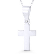 Flat Latin Crucifix Christian Cross Pendant w/ Chain Necklace in .925 Sterling Silver - ST-CP039-SLP