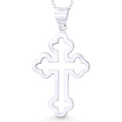 Budded / Botonée Open Cathedral Cross Christian Pendant w/ Chain Necklace in .925 Sterling Silver - ST-CP044-SLP