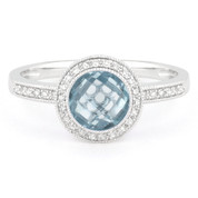 1.96ct Checkerboard Blue Topaz & Round Cut Diamond Pave Halo-Design Ring in 14k White Gold