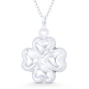 4-Leaf Shamrock Irish Luck Charm Hollow Pendant & Chain Necklace in .925 Sterling Silver - ST-FP080-SLP