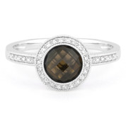 1.40ct Checkerboard Smoky Topaz & Round Cut Diamond Pave Halo-Design Ring in 14k White Gold