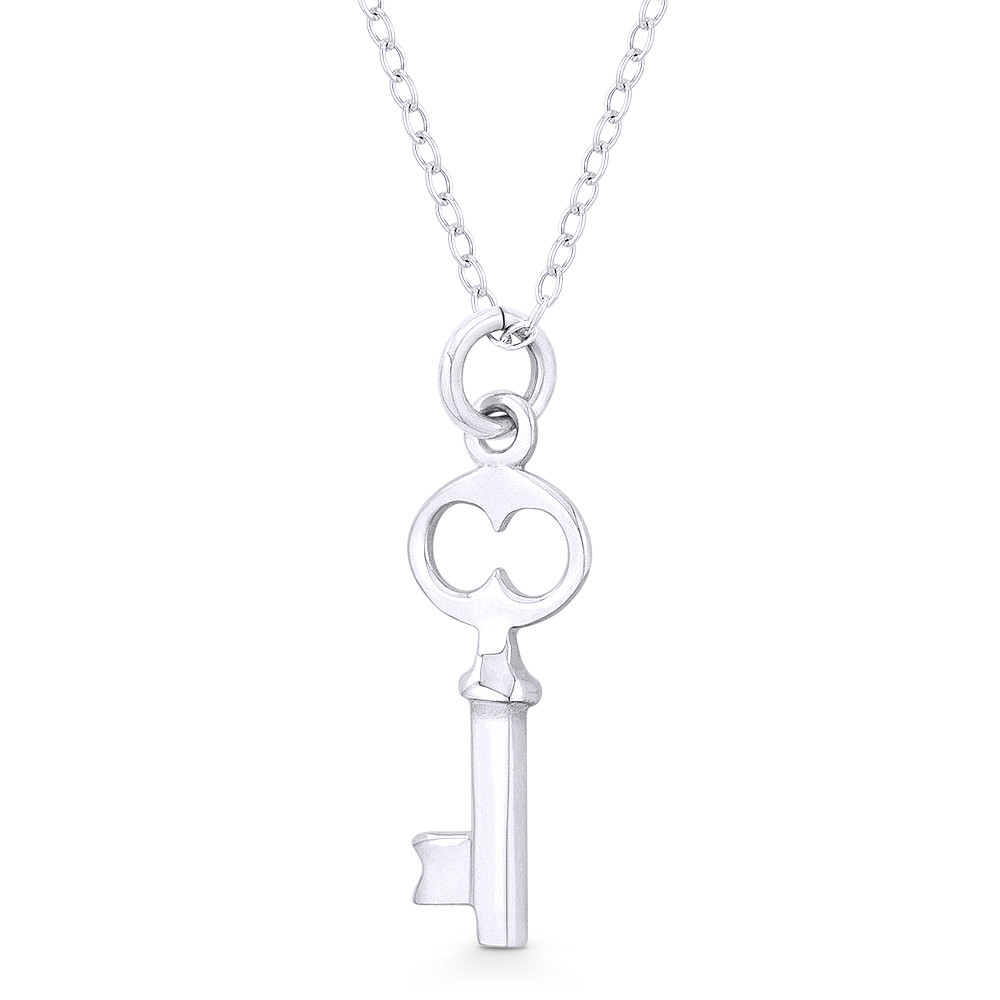 Heart Bow Skeleton Key Love Charm Oxidized .925 Sterling Silver Necklace Pendant