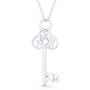 Antique-Style Skeleton Key Love Charm Pendant & Chain Necklace in .925 Sterling Silver - ST-FP091-SLP