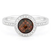 1.80ct Checkerboard Garnet & Round Cut Diamond Pave Halo-Design Ring in 14k White Gold