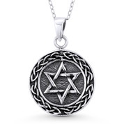 Star of David & Braided Bali-Knot Circle Charm Pendant & Chain Necklace in Oxidized .925 Sterling Silver - ST-JD001-SLO