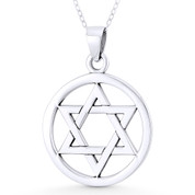 "Star of David / Jewish Magen Charm & 1"" Circle Pendant & Chain Necklace in .925 Sterling Silver - ST-JD008-SLP"