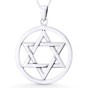 "Star of David / Jewish Magen Charm & 1.3"" Circle Pendant & Chain Necklace in .925 Sterling Silver - ST-JD009-SLP"