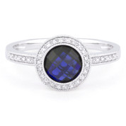 1.91ct Checkerboard Lab-Created Blue Sapphire & Round Cut Diamond Pave Halo-Design Ring in 14k White Gold