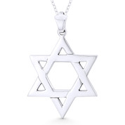 Star of David / Jewish Magen Charm Pendant & Chain Necklace in .925 Sterling Silver - ST-JD010-SLP