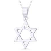 Star of David / Jewish Magen Charm Pendant & Chain Necklace in .925 Sterling Silver - ST-JD011-SLP
