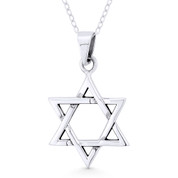 Star of David / Jewish Magen Charm Pendant & Chain Necklace in Oxidized .925 Sterling Silver -  ST-JD012-SLO