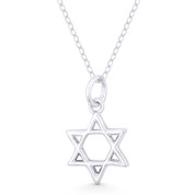 Star of David / Jewish Magen Charm Pendant & Chain Necklace in .925 Sterling Silver - ST-JD014-SLP