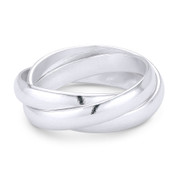 3mm Half-Dome Triple-Band Rolling Ring in .925 Sterling Silver - ST-FR001-SLP
