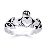 Irish Claddagh Heart & Triquetra Celtic Knot Charm Ring in Oxidized .925 Sterling Silver -  ST-FR003-SLO