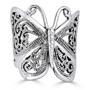 Butterfly Animal Charm Filigree-Detailed Ring in Oxidized .925 Sterling Silver - ST-FR005-SLO