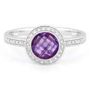 1.50ct Checkerboard Amethyst & Round Cut Diamond Pave Halo-Design Ring in 14k White Gold