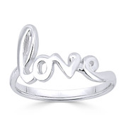 """Love"" Word Cursive Script Right-Hand Fashion Ring in .925 Sterling Silver -  ST-FR006-SLP"