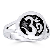 Om Symbol Hindu / Buddhist Charm Right-Hand Ring in Oxidized .925 Sterling Silver - ST-FR008-SLO