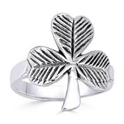 Irish Shamrock 3-Leaf Clover Irish / Celtic Charm Ring in Oxidized .925 Sterling Silver - ST-FR010-SLO